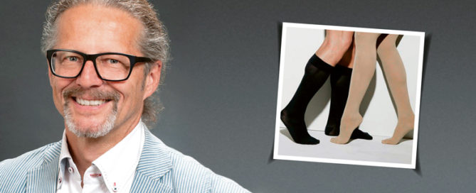 Dr. Traber mit Kompressionsstrümpfen als Bild im Bild